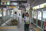 Judy at the Shiodome Station - waiting for the Yurikamome Line train to take us close to the Sumida River for a water bus ride