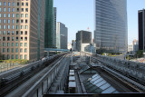 The tracks of the Yurikamome Line train as seen from the Shiodome Station