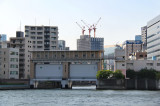 Sluice gates used to control flooding - on the Sumida River - seen from our water bus, Tokyo