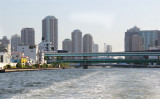 The Sumidaga Ohashi Bridge (and the EitaiBashi Bridge behind it)  on the Sumida River as seen from our water bus, Tokyo
