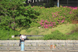 A young male and a young female on the banks of the Sumida River - seen from our water bus, Tokyo