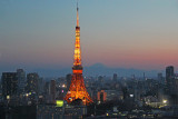 Close-up night view of the Tokyo Tower as seen from the Park Hotel where we stayed. Mt. Fuji is in the background