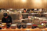 The kitchen at Washoku EN Shiodome where we ate dinner - fine food (Tokyo)