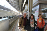 Judy, Sallie and John at the Tokyo Station ready to board the Shinkansen 700 bullet train (on the left) to Odawara