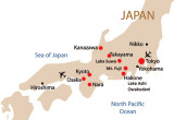Major stops during our trip are marked with red circles. Entry/departure points to/from Japan are marked with airplane icons.