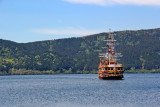 Cartoonish pirate ship coming to port at Moto-Hakone which we then took to Togendai - on Lake Ashi