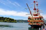 Cartoonish pirate ship at port at Moto-Hakone -  we took it to Togendai - on Lake Ashi