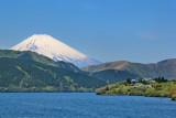 Mt. Fuji as seen from a cartoonish pirate ship on Lake Ashi
