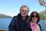 Judy and Richard aboard a cartoonish pirate ship on Lake Ashi going from Moto-Hakone to Togendai.