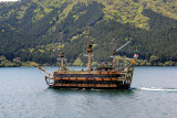 A cartoonish pirate ship on Lake Ashi similar to the one  we were on when this photo was taken