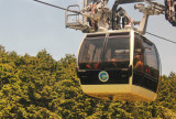 A passing cable car on the Hakone Ropeway from Togendai to the Ubako Station and then to Owakudani