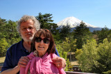 Judy and Richard with Mt. Fuji in the background - at the Yamanashi Prefecture Fuji Visitor Center