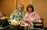 Judy and Richard wearing kimonos at a traditional Japanese dinner at the Nunohan Hotel in Suwa-shi