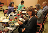 Judy and others at breakfast at the Nunohan Hotel in Suwa-shi. After breakfast we left by bus for Takayama.