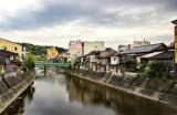 Miyagawa River in Takayama from the Kajibashi Bridge - one of the first sites we saw when we arrived in Takayama from Suwa-shi