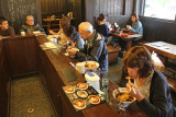 Judy eating lunch in  Old Town in Takayama