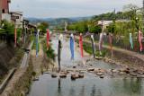 Carp streamers above the Miyagawa River to celebrate Kodomo no Hi (Children's Day) - Takayama