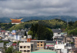 View from our room at the Hida Hotel Plaza in Takayama. World Shrine of Sukyo Mahikari (large gold/brown roof) is on the left