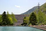 Miboro Dam with its rock exterior - seen at the Miboro Dam Side Park while traveling from Takayama to Kanazawa