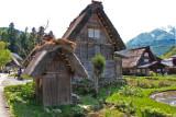 The Gassho-zukuri Village in Shirakawa-go tucked away in the surrounding mountains