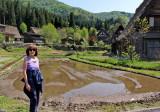 Judy in the Gassho-zukuri Village in Shirakawa-go tucked away in the surrounding mountains