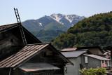 Snow capped mountain behind the Gassho-zukuri Village in Shirakawa-go