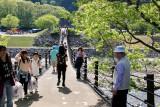 Judy on the pedestrian suspension bridge to the Gassho-zukuri Village in Shirakawa-go