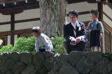 Father and two sons going to an Omiyamairi (newborn celebration) which we witnessed but were not allowed to photograph