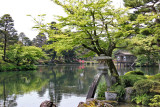 Kasumiga-ike Pond with Kotojitoro Lantern in foreground in Kenroku-en Garden - Kanazawa