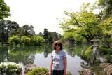 Judy near the Kasumiga-ike Pond (with its Kotojitoro Lantern - right) in the Kenroku-en Garden - Kanazawa