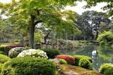Black pine tree (Karasaki Matsu) with some pole-supported branches over the Kasumiga-ike Pond - Kenroku-en Garden - Kanazawa
