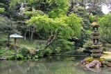 The Kaisekito Pagoda (right) on an island in the Hisago-ike Pond in the Kenroku-en Garden - Kanazawa