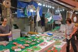 Judy at a fresh fish stall at the indoor Omi-cho Market in Kanazawa