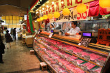 Meat counter at the indoor Omi-cho Market in Kanazawa