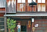 Judy in front of the Shima Chaya (Geisha) House in the Higashi Chaya (Geisha) District of Kanazawa