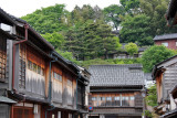 The exteriors of the second floor guestrooms of buildings in the Higashi Chaya (Geisha) District of Kanazawa