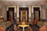 Judy looking elegant in the elegant lobby of  the Hotel Nikko Kanazawa where we stayed in Kanazawa