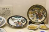 Centuries old plates in the Kutani style - seen at the Nomi Kutani Ceramics Museum in the Kutani Pottery Village in Nomi-shi