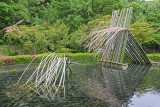 Bamboo Waterfall in front of the Asakura Isokichi Art Museum in the Kutani Pottery Village in Nomi-shi