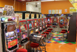 Pachinko machines and slot machines at a lunch stop while traveling from the Kutani Pottery Village to the Sea of Japan