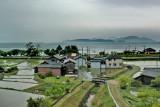 Lake Biwa and rice paddies as seen from our train approaching Kyoto from Komatsu