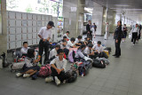 Students at the main train station in Kyoto. Several students said they were in Kyoto to visit traditional sites.