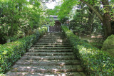 Stone stairs between the lower garden area and the upper main structures at the Ryoanji Termple in Kyoto