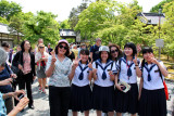 Judy to the left of schoolgirls and Judith behind them - near the entrance to the Golden Pavilion in Kyoto