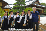 Richard with schoolgirls in the complex (Rokuon-ji) of the Golden Pavilion in Kyoto