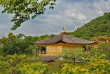 Close-up of the top floor of the Golden Pavilion on the grounds of the Temple complex (Rokuon-ji) in Kyoto