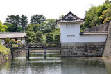 Bridge entrance to Honmaru Palace and Garden in Nijo Castle in Kyoto. Inner moat and inner wall (right) surrounding Honmaru.