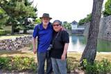 John & Richard: Background - inner moat & inner wall (right) surrounding Honmaru & bridge entrance to Honmaru in Nijo Castle