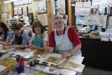Judy and Richard each pattern-dyeing a bag at a Kyo-yuzen Workshop at Marumasu-Nishimuraya in Kyoto
