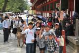 Judy with schoolchildren and deer in Nara Park